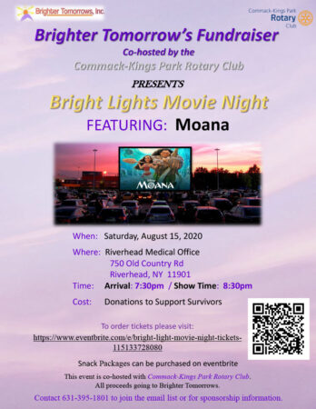 Bright Lights Movie Night Fundraiser Featuring: Moana